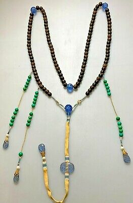 Antique Chinese China Qing Agarwood Qinan Kynam Court Necklace Peking Glass1900