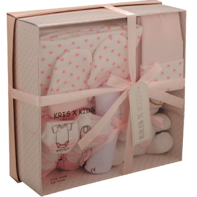 7 Piece 0/3 Month New Baby Girl Pink White Gift Box Set Ideal Baby Shower