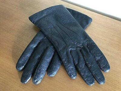 Dents Ladies Black Leather Gloves Size 6.5 (Small) Immaculate Vintage