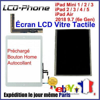 Écran LCD / Vitre Tactile iPad 2/3/4/Air/mini 2/3 Bouton Home+Autocollant