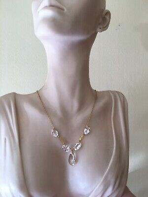 9ct. 375. Art Deco Rock Crystal Necklace 15 Inches(38cm) Hallmarked Chester 1929