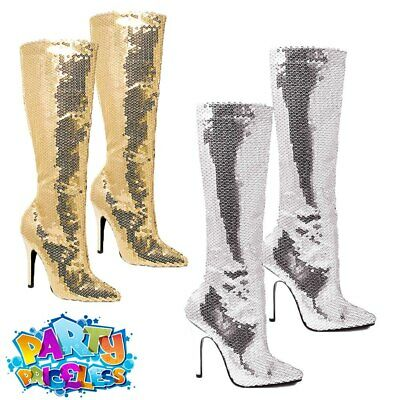 Adult Ladies Disco GoGo Boots Sequin Knee High 60s 70s Fancy Dress Accessory