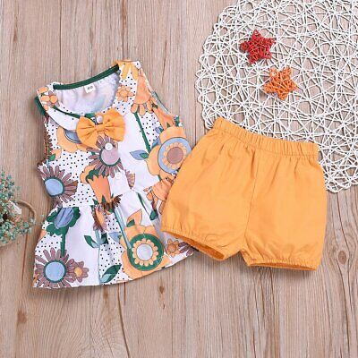 Toddler Baby Girl Tops Dress Vest+Shorts Pants Summer Outfit 2PCS Clothes Set
