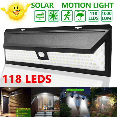 118LED Solar Powered PIR Motion Sensor Wall Security Light Lamp Garden Outdoor Z