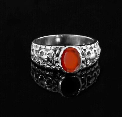 925 Sterling Silver Ring Orange Hessonite Garnet Natural Gemstone Size 4 - 11