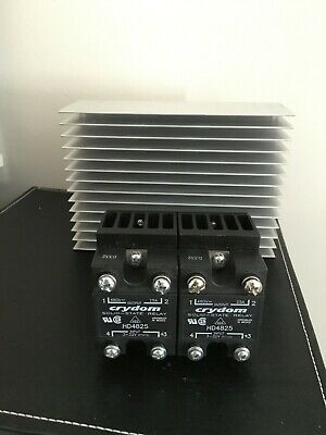 Pair of Crydom HD4825 Solid State Relays on HBC TP-25HDS-2 Heat Sink