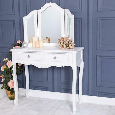 White Dressing Table and Mirror Storage French Chic Bedroom Furniture Home Decor