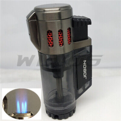 JOBON High-Capacity Triple Jet  Torch Gas Lighter for Pipe Cigar Cigarette Black