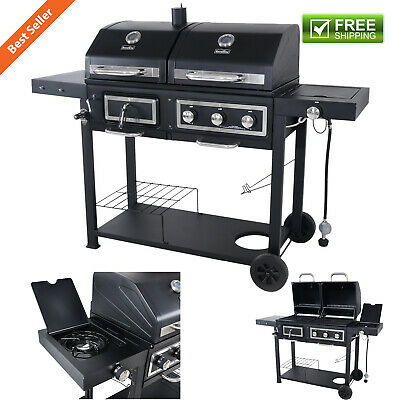 Dual Fuel Combination Charcoal Gas Grill Family Cooking Barbecue Garden Backyard