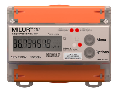 Milur® 107 Electric Smart Meter Submeter Kilowatt-Hour kWh Single Phase