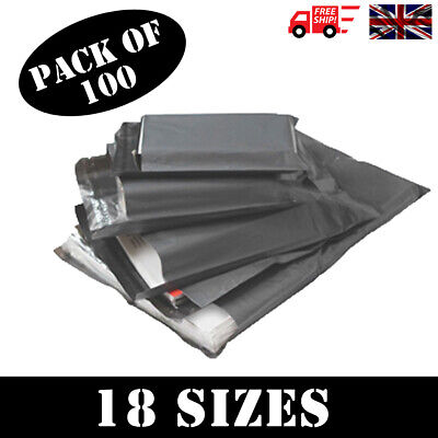 100 x STRONG QUALITY GREY POLY MAILING BAGS POSTAGE POSTAL SELF SEAL - 18 SIZES!