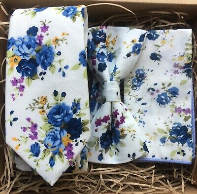 Blue Mens Floral Tie, Bow Tie and Pocket Square perfect for weddings. UK