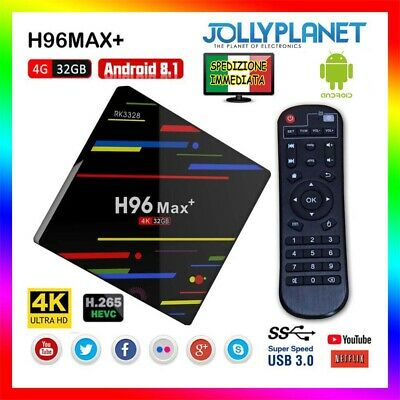 H96 Max Plus+ Android 8.1 4GB 32GB TV BOX RK3328 4K USB 3.0 Quad Core 2.4G Wifi