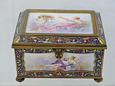 Magnificent Antique French Sevres Porcelain Gilt Dore Bronze Large Jewelry Box