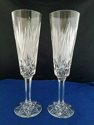 "TYRONE Irish Frost Cut Crystal  set of 2 Flute Champaign glass Goblets 8 1/4""h"