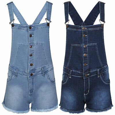 Girls Denim  Wash Distressed Fray Button Dungaree Shorts Hot Pants Kids Playsuit