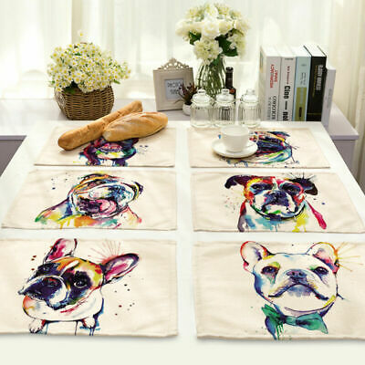 Table Dog Bowl Mats MA91 Cotton Dining Insulation Linen Pad Abstract Placemat