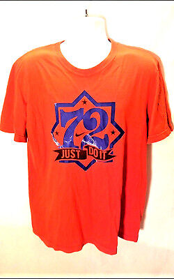 338d603a Nike Men's Graphic Just Do It 72 T-Shirt Orange/Blue Short Sleeve Size