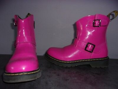 6d839bbcdc2cd BOTTINES DR doc MARTENS pointure 35 Rose Cuir Verni bottes FILLE UK 2.5    US 3.5