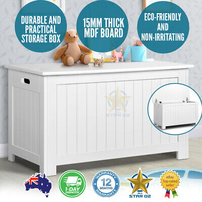 Wooden Toy Box Kids Storage Chest White Cabinet Clothes Blanket Containers