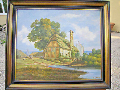 Tableausigné Paysage Anglais Cornwall Peinture Huile Toile Cadre