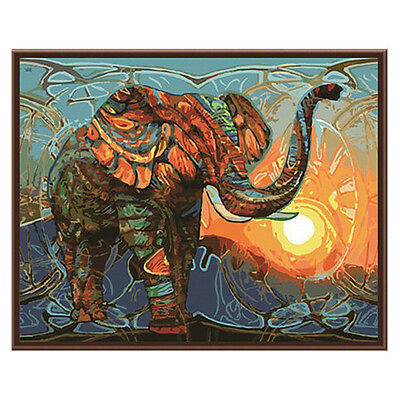 Frameless Huge Wall Art Oil Painting On Canvas Abstract Elephant Decor DIY Kit
