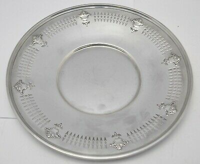 "Antique R. Wallace Sterling Silver 9.5"" Repousse Pierced Sandwich Plate 242g"
