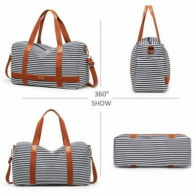 Classic Striped Travel Handbag Canvas Cabin Luggage Shoulder Cross Body Suitcase