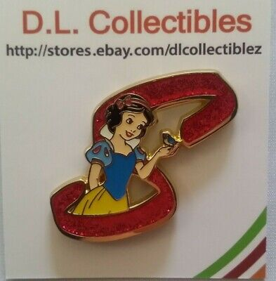 Disney Snow White and the Seven Dwarfs Princess Glitter Letter S for Snow Pin