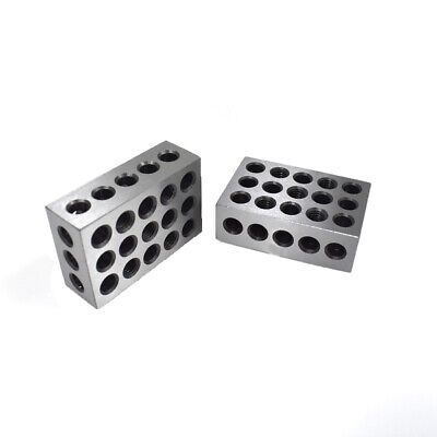 "1PAIR 123 BLOCKS 1-2-3 ULTRA PRECISION .0002 HARDENED 23 HOLES 0.0002"" NewPart"