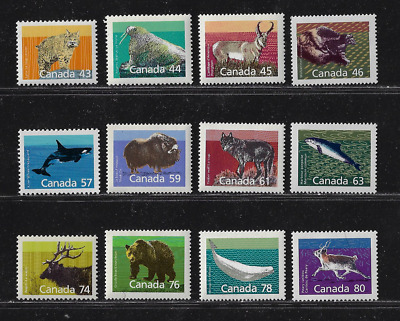 Canada — Complete Set of 12 Stamps — 1988-90, Animal Mammals Issues #1170-80 MNH