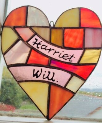 Custom-Made Stained Glass Hearts, Personalised - Any Occasion