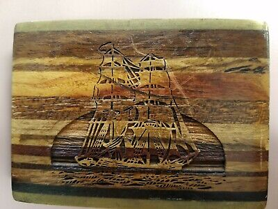 Vtg Wood Inlay Old Sailing Boat etched Brass Belt Buckle