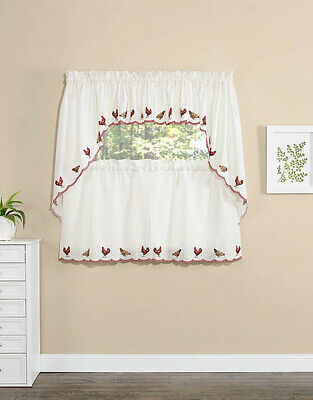 ROOSTER KITCHEN CURTAINS Swag Valance Tiers Country Farmhouse Chickens  Crimson
