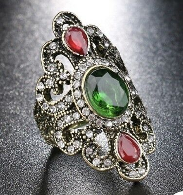 Fashion Bohemian Ring Size 8 Antique Bronze Vintage Costume Jewelry Rhinestones