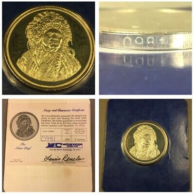 1985 - Running Antelope Indian Chief - 5 oz .999 Fine Silver - Series A - COA