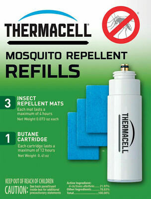 Thermacell 12 Hour 1-count Vapor Mosquito Repellent Refill 3Mats 1 Cartridge NEW