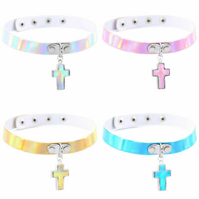 Holographic Choker Punk Laser Leather Cross Pendant Collar Necklace Jewelry
