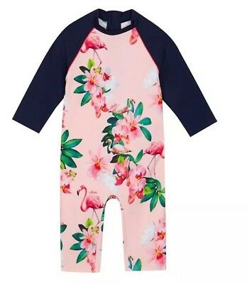 Ted Baker - 'Girls' pink flamingo floral print sunsafe suit BNWT