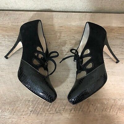 ba4cf6fa30fd Bettye Muller Women s Size 37.5 US 6 Lace up Suede Heels Rounded Toe Black