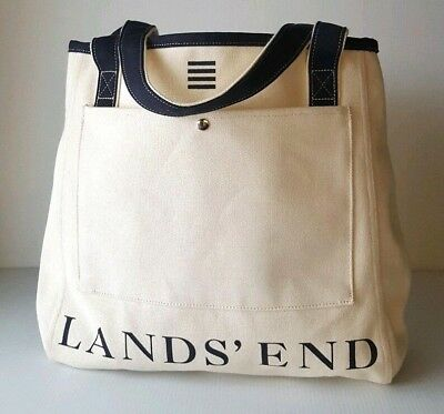 6f4d6198bf3a Lands End Medium Open Top Canvas Tote Bag Natural Dark Navy-Black Spellout