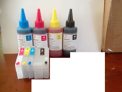 Refillable Ink Cartridge + Ink For Epson WF3620,3640,7610,7620,7710,7720