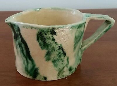 Vintage HANDMADE Pottery Class Green Beige STRIPE Bisque Clay Large Table JUG