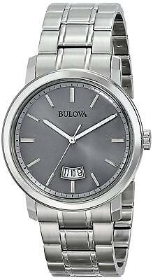 Bulova Quartz Gray Dial Stainless Steel Bracelet Men's Dress Watch 96B200
