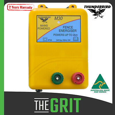 Thunderbird M30 2km Mains Electric Fence Energiser Charger Pet Farm Animal Unit