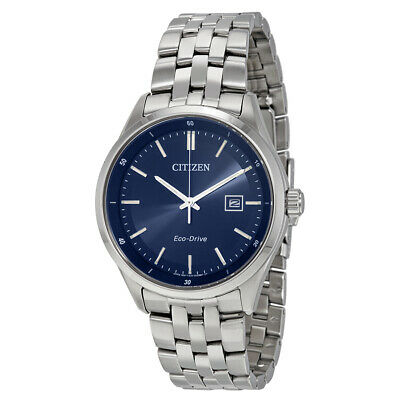 Citizen Eco-Drive Men's Blue Dial Silver Tone Bracelet 41mm Watch BM7251-53L