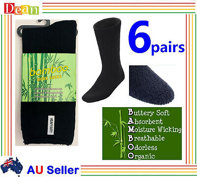 6 Pairs PREMIUM BAMBOO SOCKS Men's Heavy Duty Thick Work Socks Cushion BULK