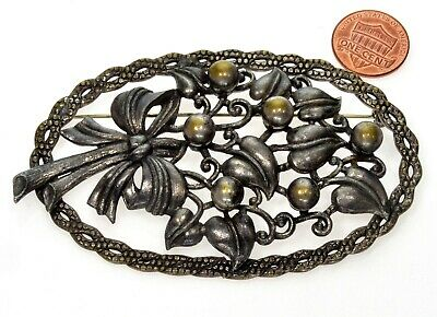 Antique Victorian Large Bouquet Bow Brass Sash Pin Brooch