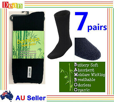 7 Pairs PREMIUM BAMBOO SOCKS Men's Heavy Duty Thick Work Socks Cushion BULK