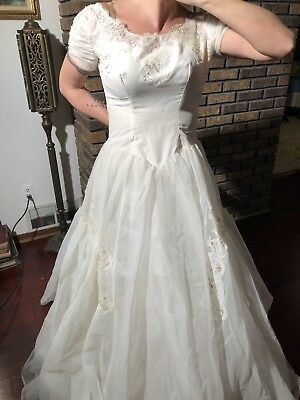 vtg wedding dress veil Lace Retro White Party Halloween Outfit 1980s